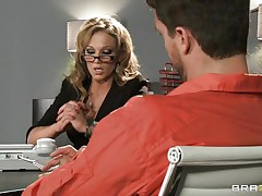 Look at that blonde lawyer talking to an accused man. Look at those big zeppelins and her sexy butt getting that fellow highly horny. Do u think This babe will get some cream on her wet lips or some hard ramrod in her taut ass?