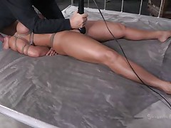 Mom Ava gets some attention from not one but two guys. Well she's getting greater quantity then she can handle and the dudes do what they want with her sexy body. After they've rubbed her pussy with a vibrator the black one starts to face gap fuck her while the other one takes care of her pussy. She's about to get cum filled!