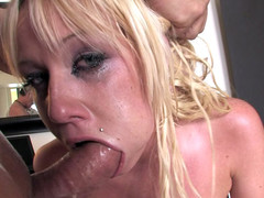 Cockhungry golden-haired is willing for real deepthroat act