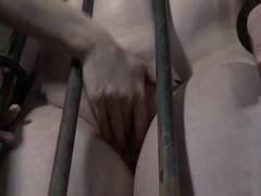 Bound up honey receives her cum-hole lips opened up for lusty torture