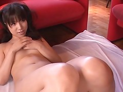 Busty Oriental charms a palpitating knob with soaked engulfing