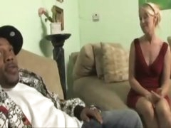 Blond milf in a red suit wishes huge darksome dick