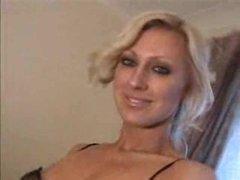 Blonde in a short costume striptease