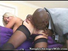 Husband filming dark studhorse on wife