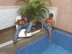 Two males seduce shelady outdoors
