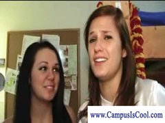 Lesbo college beauties in naked dorm fun