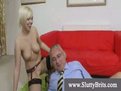 Stocking wearing youngster gets creampie by old kinky chap