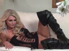 Irresistible golden-haired in leather boots toys solo