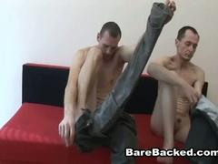 Bareback gay lovers hardcore anal fucking ottoman adventure