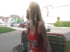 Sexy golden-haired hottie fucked in public 4 some bucks and fun