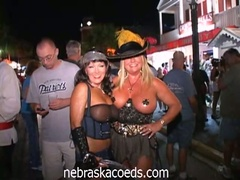 Hot chicks show their stuff in this wild street party
