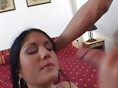 Sarah Twain gets her face plastered with warm cum