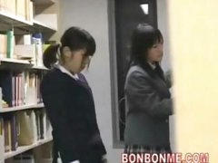 cute schoolgirl screwed and facial spunk flow by geek in library