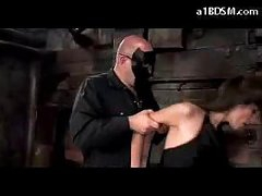 Brunette Girl In Nylons Spanked Getting Tied Up Engulfing Dick In The Dungeon