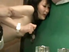 It is a constricted fit in this bathroom, and a constricted fit in her pussy.  But this pair manages to fuck in several different positions, and finally this chab leaves his sexy cum inside her, a admirable creampie for us to see.