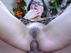 Upskirt playgirl in glasses receives her curvy behind licked and dicked by a fellow