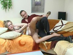 Incredibly hawt chick in expensive hose getting her brains screwed out