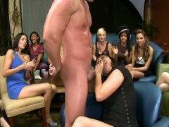 Hawt juvenile college gals can?t resist engulfing pecker at the nightclub