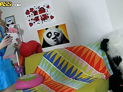 The horny Panda discovered this time a girl obsessed with him! This gal has a poster with panda on the wall and draws a picture of him now. She's so lustful and pleased that lastly panda visited her but does this babe knows what his intentions are? Well this babe maybe a bit innocent and stupid but that's how panda likes it!