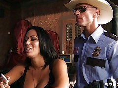 This slutty policeman finds a good milf in a bar and when that hottie sees him that hottie grabs him by the collar and begins getting horny. He takes her big sexy boobs out squeezing and kissing 'em and after that grabs this doxy by the neck and gives her his cock. See her as that hottie sucks his dick with pleasure, is that hottie going to acquire some spunk?