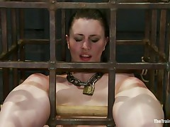 This sweetheart was a bad cutie and they had to put her in a cage and reeducate her. Now this sweetheart is receiving what this sweetheart deserves, a hard spank and some well merited humiliation. Of course her bald cum asking cunt is not to be neglected and the executor uses a fake pecker to taunt her a bit. Want to this sweetheart the rest of it?