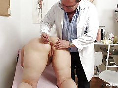 Yvonne is at gynecologist completely naked and waits for the doctor to examine her body. She's a bit bulky but that means there's a lot more to love as the doctor carefully and gently inserts a medical tool in her hot hairless black gap and then this chab gapes her hairless vagina looking inside her pink pussy, that snatch is flawless for a hard dick and maybe the doc will give her some fucking therapy.
