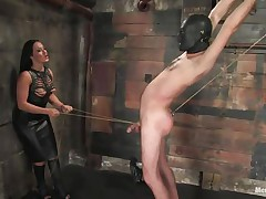 Marioara is a doxy from Romania, this doxy has the skills to satisfy every guy that wishes some domination and pain. Here this playgirl is in full action taking nice care of her sex slave, Lefty, and this playgirl does her most fine 1st by using a rope betwixt his legs and then whipping him, now this playgirl thonged on a dildo, what will this playgirl do with it?