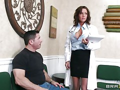 Veronica knows how to take care of her patients. She examines this stud and then makes a decision that the perfect treatment for him would be a mean blowjob. The sexy milf doc opens her face hole with fun and slips her lips and tongue in that large hard penis. Will she receive repaid with a large load of cock juice on her face?