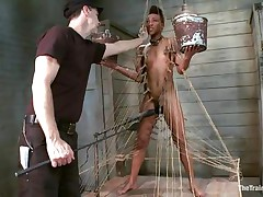 Nikki is all fastened up and standing on her legs. Filled with clothespins and strings, that sweetheart has to be careful and not to drop the 2 buckets she`s holding, while a big sex toy makes sensations on her moist cunt. This sweetheart acquires all whipped for being such a bad ebony girl. Her executor will take very nice care of her!