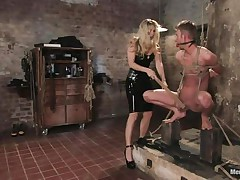 That babe got her man fastened nice-looking valuable and now she's having some pleasure with his body, paying a lot of special attention to his cock. This sexy bossy milf with golden-haired hair and fit body is using her tools to taunt and induce pain to her man. Look at her thrashing his 10-Pounder and body as he's fastened up and ball gagged.