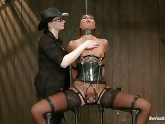 She's hard to please but no worries, these 2 very skilled mistresses will take care of her. After they've bound the bitch and immobilized her, metal clamps were used to punishment her pantoons and pussy. Now she's in pang but that dildo on the cunt gives her some pleasure. Stay with us and have a fun her punishment