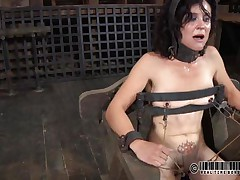 That chair is perfect for miss James. She's naked, thonged on it and a bit terrified with what's about to happen. The executor gapes her cunt using metal clamps and some kind of dildo is filling her womb. The ravishing brunette hair endures her torture and step by step that babe learns to like it!