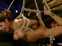 Francesca Le is a sexy milf who's tied and getting vibed and dildo-fucked by Maitresse Madeline. Francesca receives permission to cum and this chick does. Next the position changes and Maitresse receives the ding-dong and plunges deep into Francesca's tight asshole, making her moan loudly throughout her ball gag.