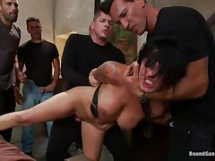 Eva Angelina is a white 27 years old american girl with a nice couple of mounds which has the bad luck to be surrounded by five excited guys who like coarse fucking. They test her face hole size by inserting their dicks so unfathomable until she can't even breathe. Next, they widen her legs and alternative fuck her