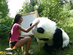 Mr. Panda is outside in the midst of nature and the thin brunette playgirl that's with him wishes to prove him what an artist this honey is. Well, this honey may not be valuable at painting but this honey surely knows how to make him cheerful by engulfing his big panda cock. Stay with 'em and have a fun the wilderness of the forest and much greater quantity
