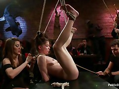 This babe was a very bad beauty and the public is determined to give her a disgraceful punishment. Look how she hangs there bound up and with her bawdy cleft on display, awaiting to acquire fucked hard and deep. Her expect is pretty soon over as a man inserts his erect pecker unfathomable in her charming vagina, wonder if that guy will cum in her?