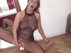 Older golden-haired doxy is very hot and horny. This honey is wearing sexy pantyhose and high heels during the time that and lays on the floor, fucking her taut vagina with a large dildo. This honey has nice boobs and a pretty face hole that is flawless for engulfing that vibrator after that honey finishes fucking her slit with it, will that honey do that?