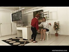 Kicsi was a bad lad and fooled around in the classroom making his teacher very very angry and now that honey has to punish him with some spanks on his ass. This man screams as that honey does that but this won't softer her, instead it makes the older teacher excited so that honey rubs his hard cock and sucks it good and slow then offers her pussy to him to lick.