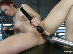 Juvenile Melody Jordan is loving this fucking machine and a sex toy for her clit. Her love tunnel takes a pounding as this honey turns the dial up, making the machine fuck her even faster. After a short break, this honey goes nearly upside down to acquire drilled, her hairless snatch taking a beating that this honey loves. She's hot!