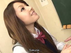 Hawt black brown hair student Ria Sakurai receives undressed for school principal after the classes and receives her snatch stimulated by vibrator in advance of that babe gives head to him and other professors on her knees and getting banged hardcore in group sex session on the desk