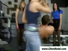 Cfnm strumpets dominate femdom guy