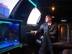 Sexy gay collision in driving limo