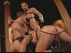 Homo leather guys having intense sex