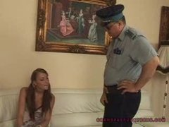 Grandpa cop fucks legal age teenager