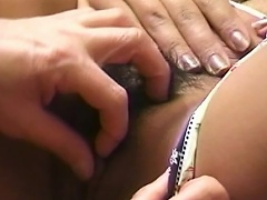 Gorgeous asian whore on sexy undies lets her snatch get licked by her...