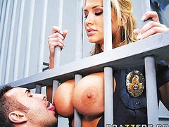 Large Tit Blonde prison guard forces inmate to fuck her moist pussy