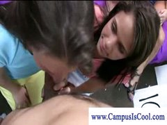Cfnm college teens gives freshman a hot blow job