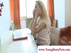 Breasty youthful blonde honey in hot lingery touching herself