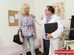 Blond paris visits wicked old gyno doctor to have her slit examined